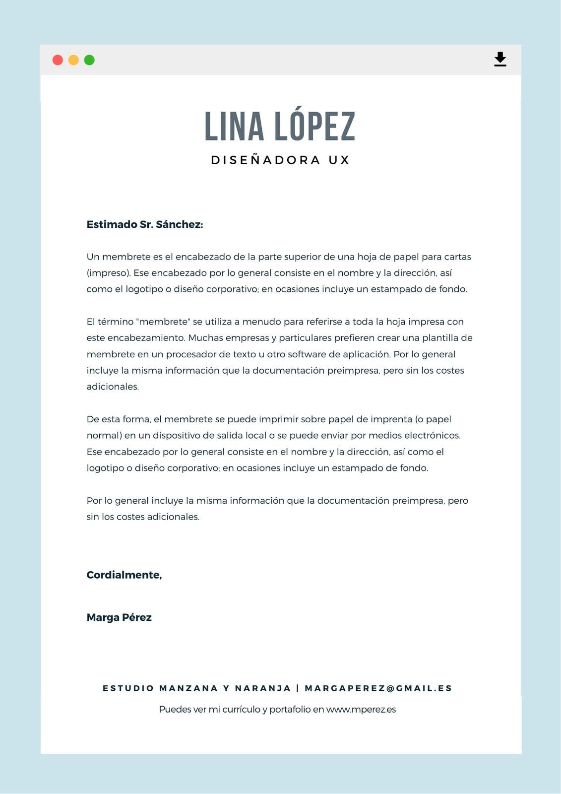 Azul Claro Navegador Web Diseñador Artista Membrete Carta
