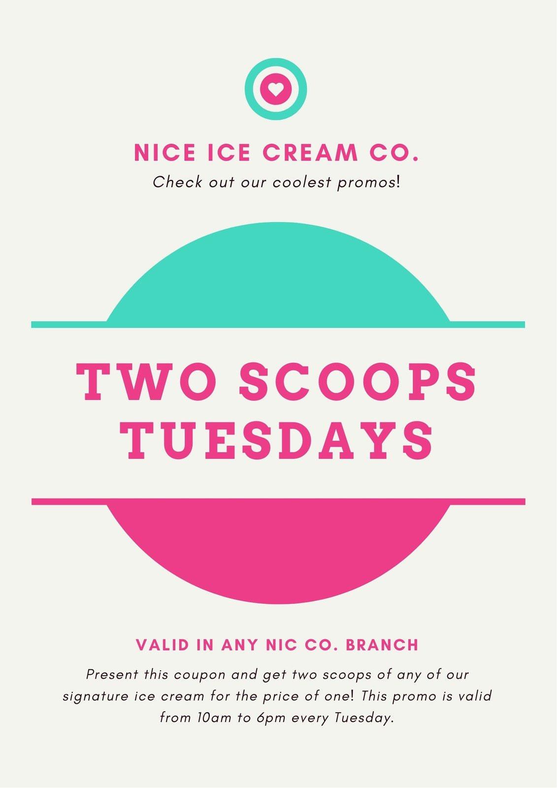 Colorful Modern Basic Shapes Ice Cream Coupon