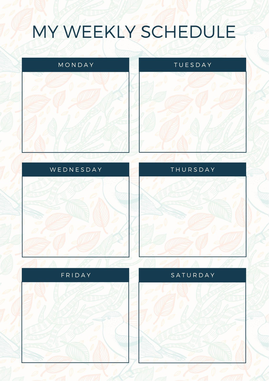 Blue and Cream Patterned Weekly Schedule