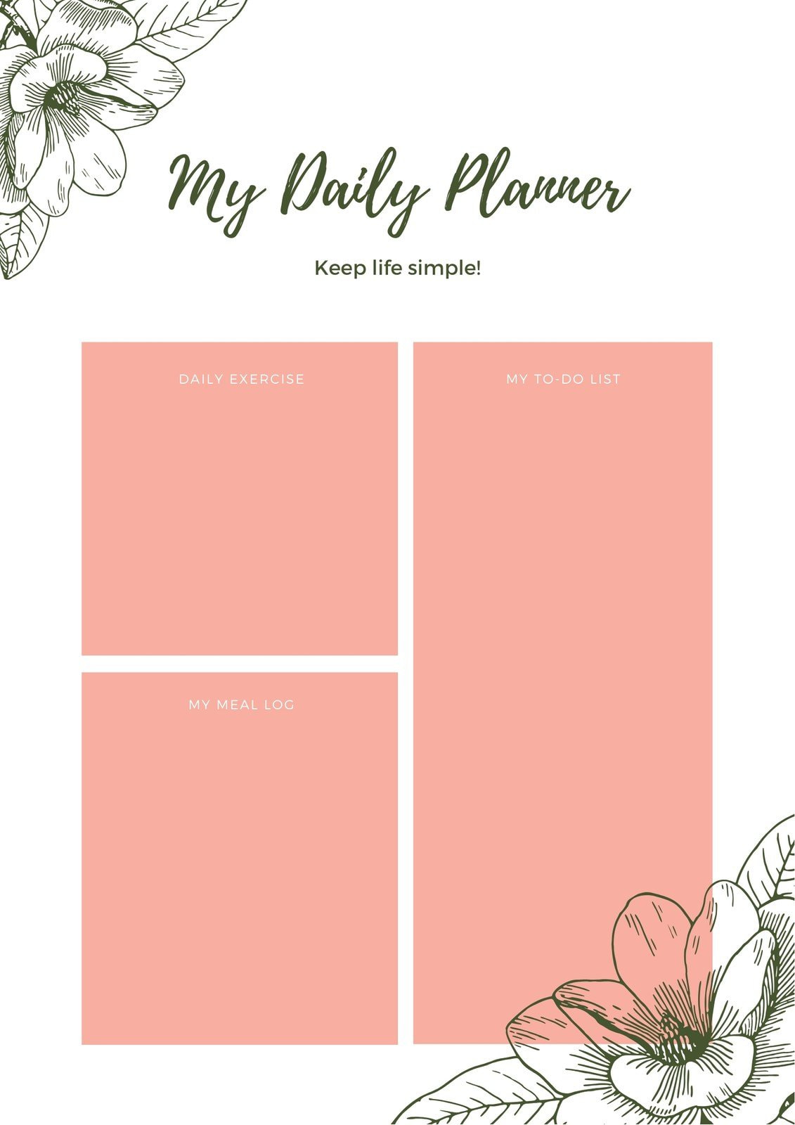 Peach Floral Watercolor General Personal Planner
