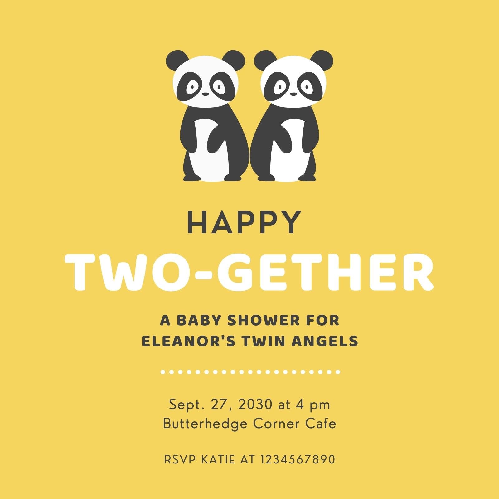 Yellow Panda Twin Baby Shower Invitation