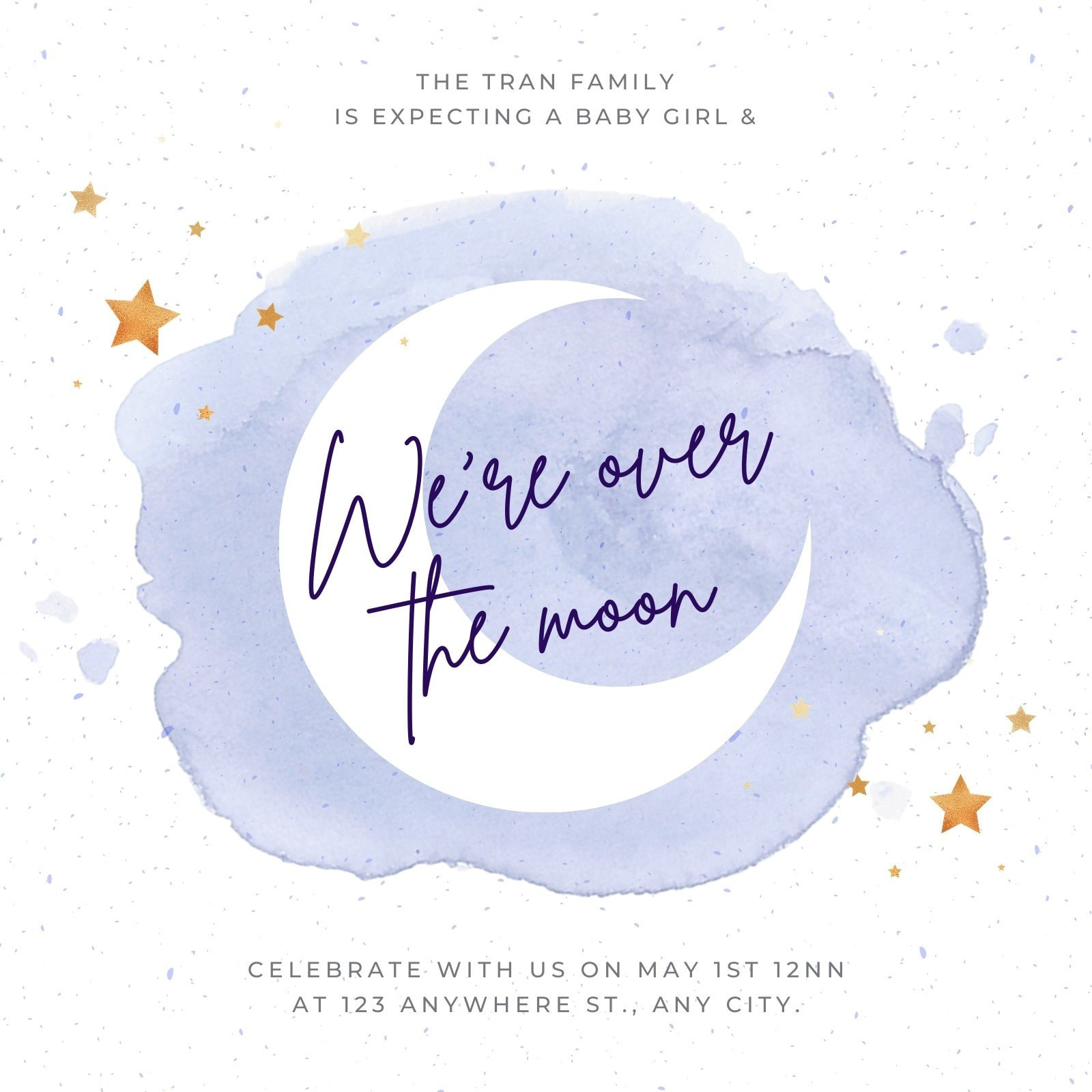 Purple Watercolor Baby Shower Invitation