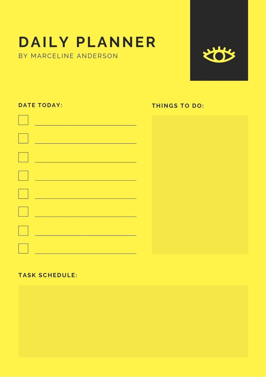 Yellow Minimalist Daily Planner