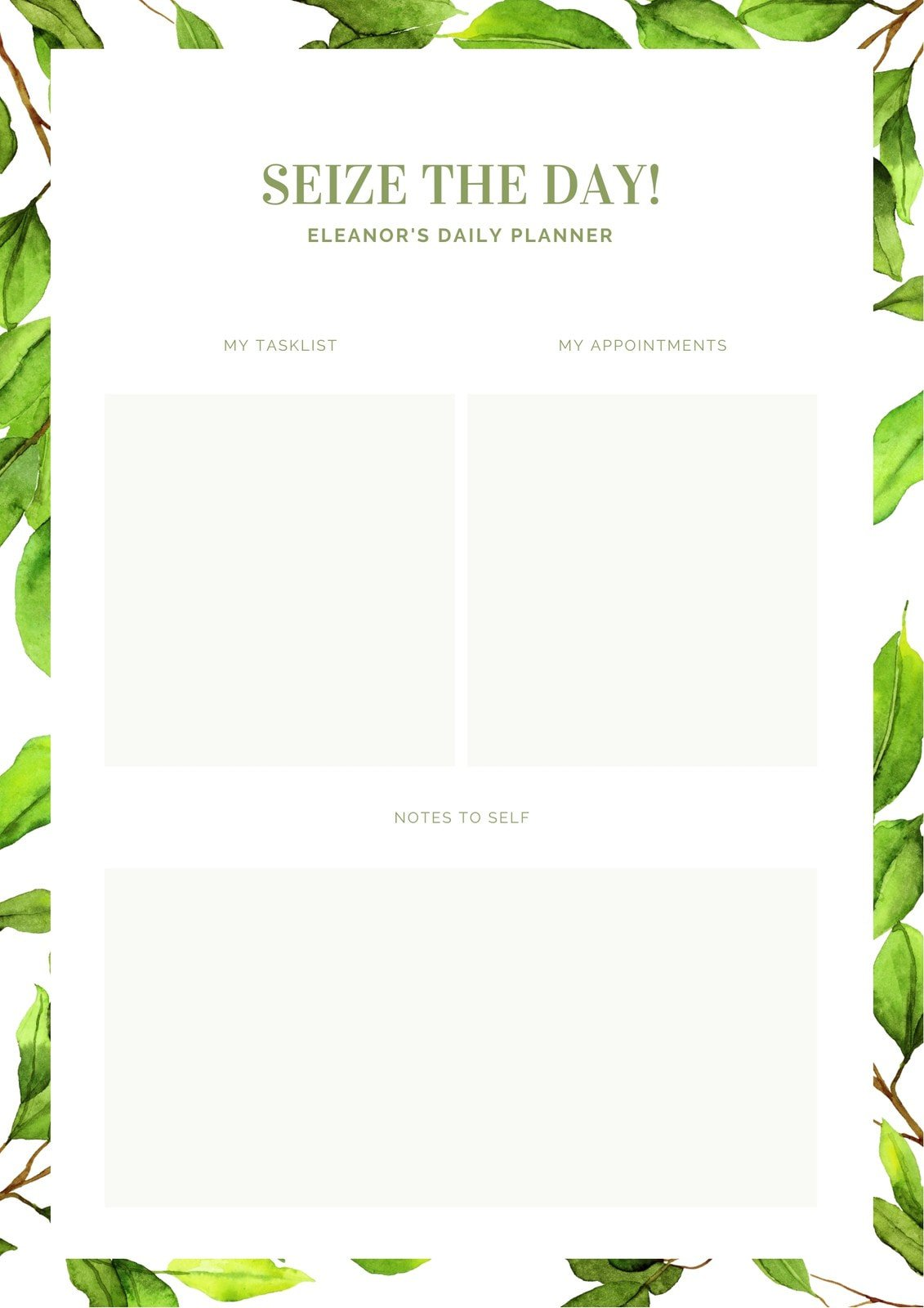 Green Leaves Daily Planner