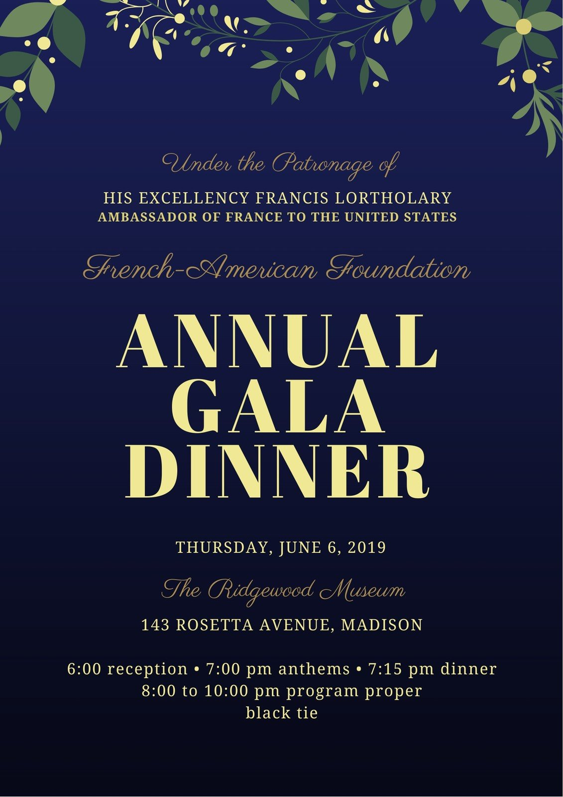 Midnight and Gold Gala Event Program