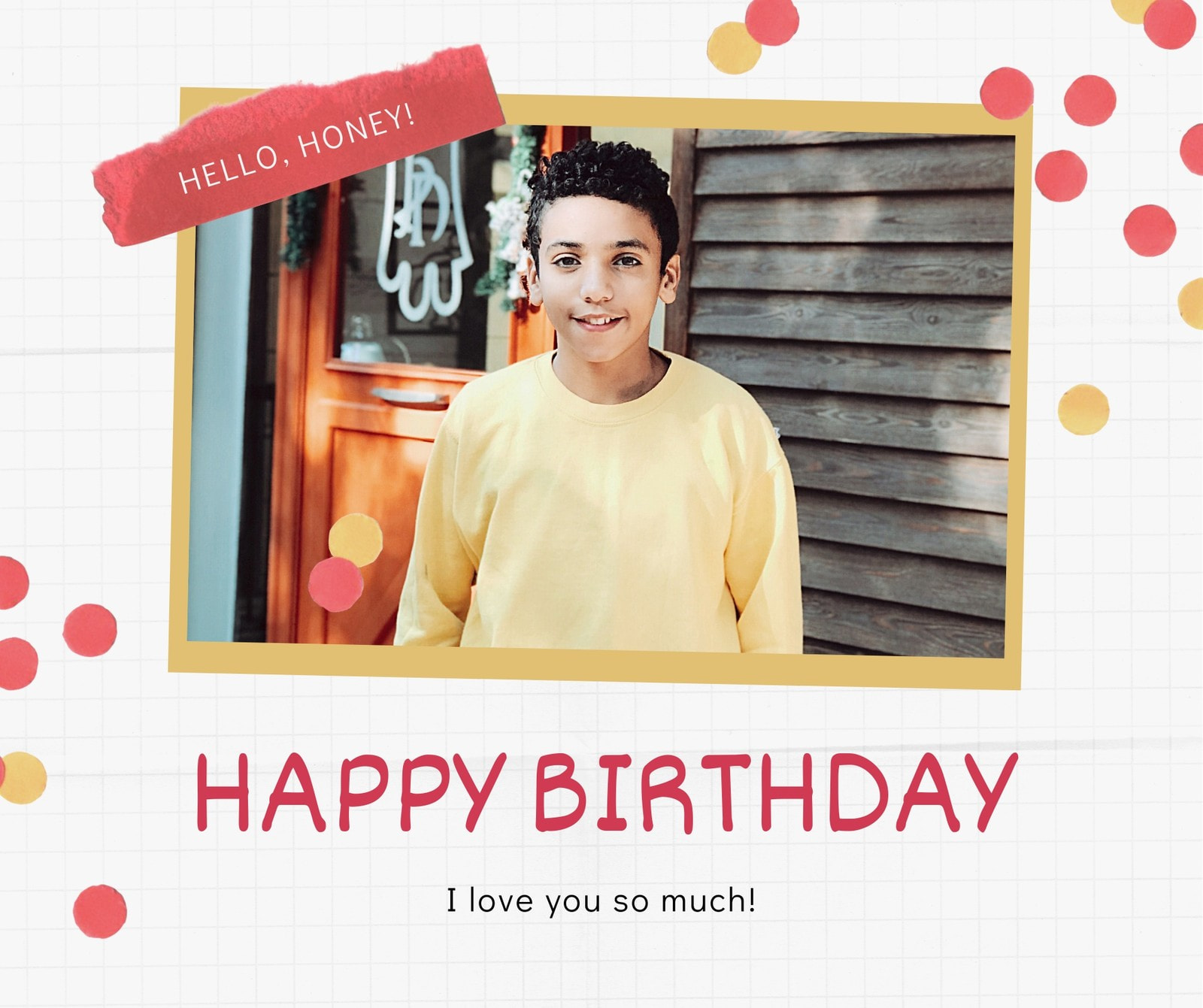 Red and Gold Boy Modern Scrapbook General Greeting Birthday Facebook Post