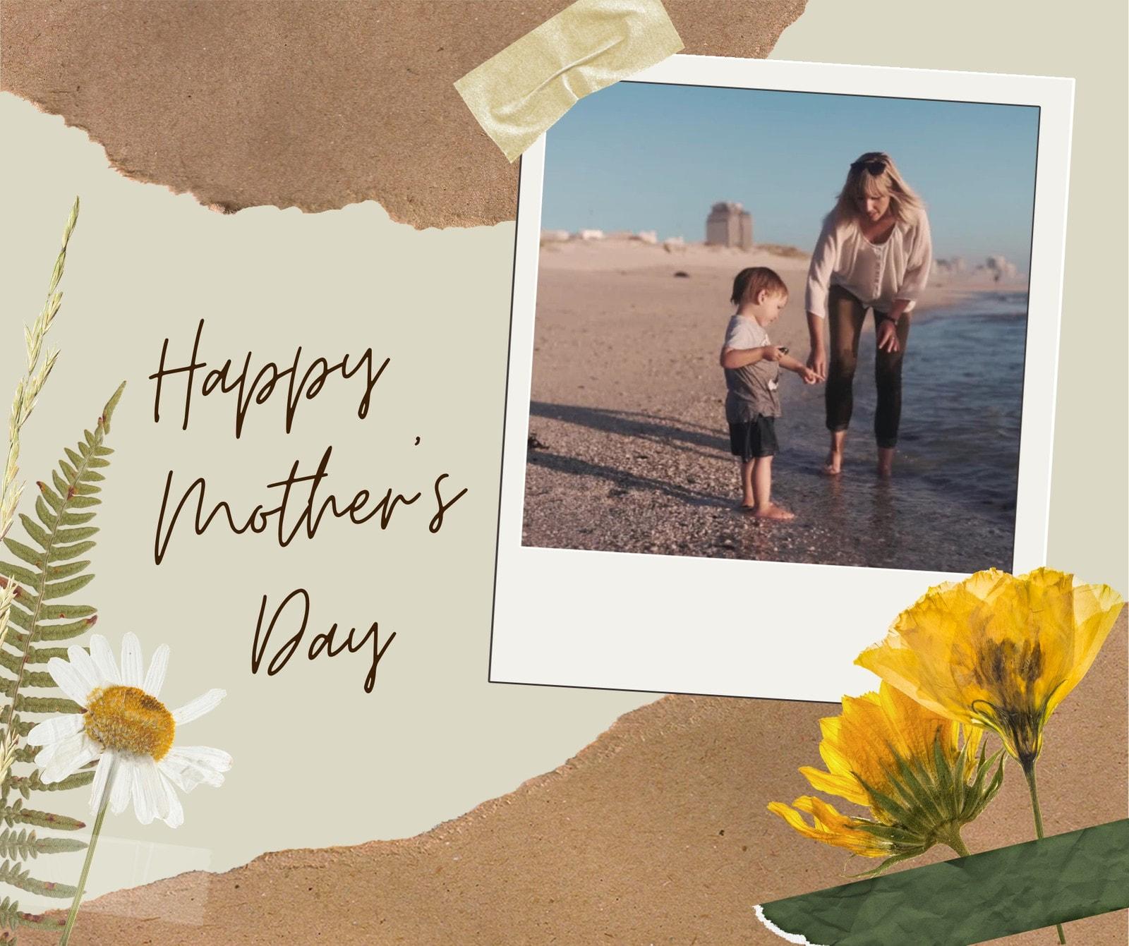 Beige Polaroid Scrapbook Mother's Day Video Facebook Post