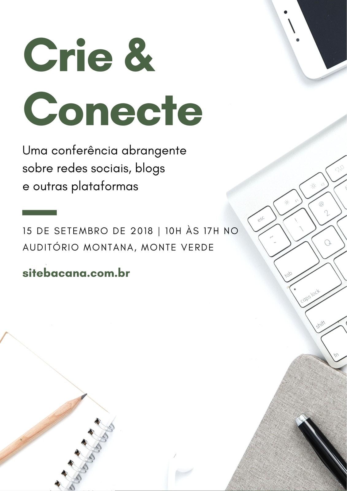 Branco e Verde Flatlay Conferência Programa