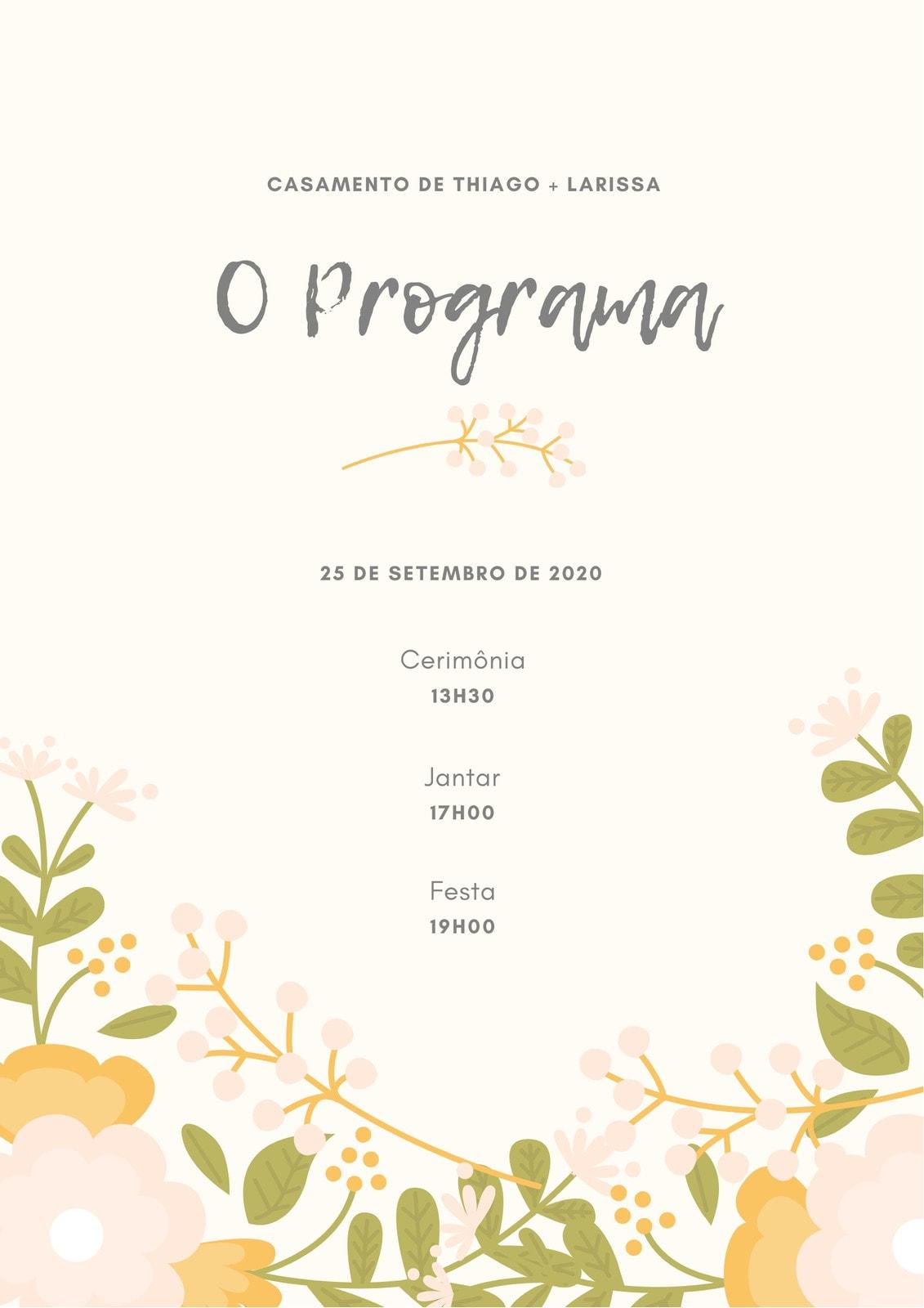 Bege Floral Casamento Programa