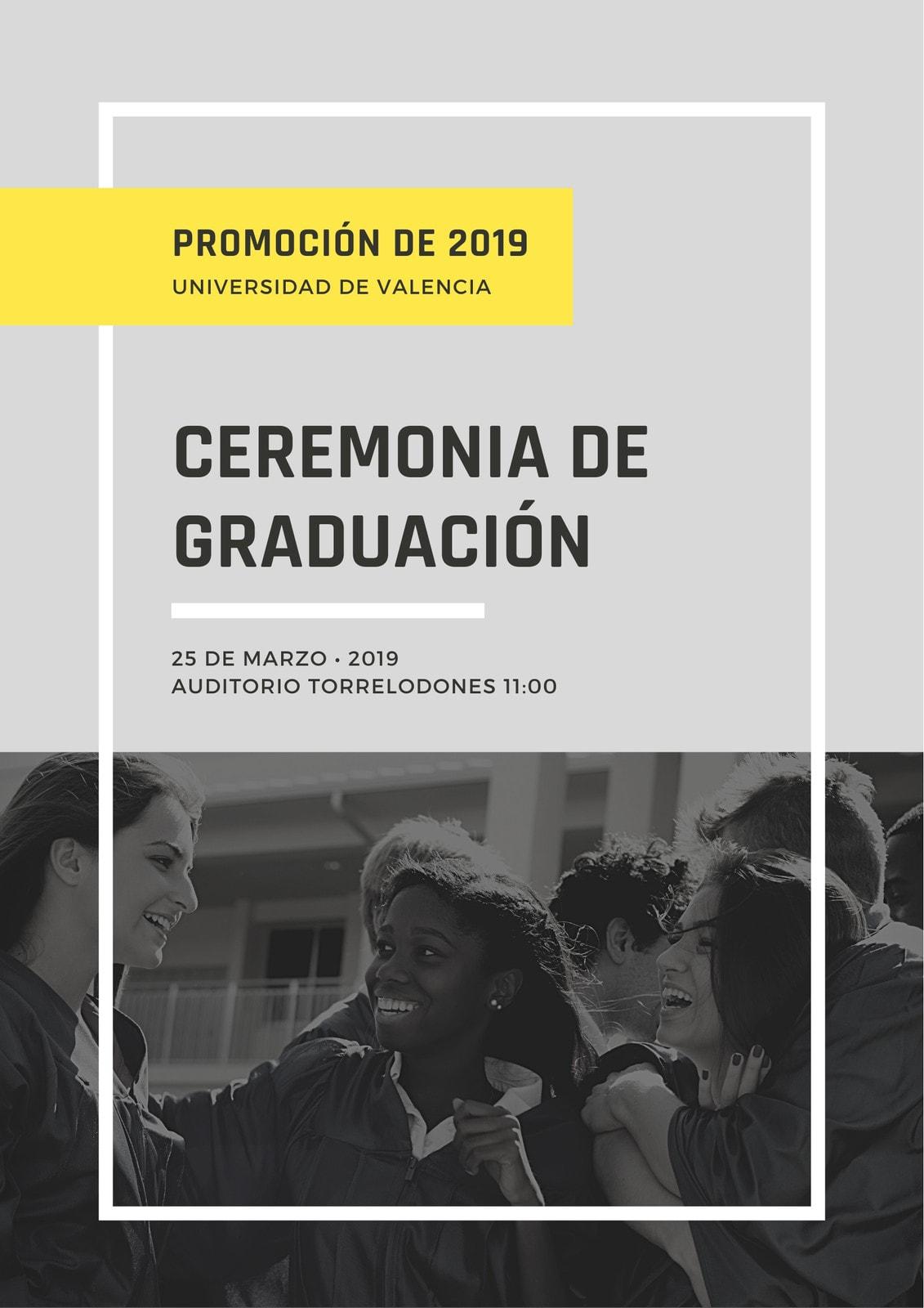 Gris Amarillo Blanco Negro Foto Imagen Borde Marco Graduación Programa