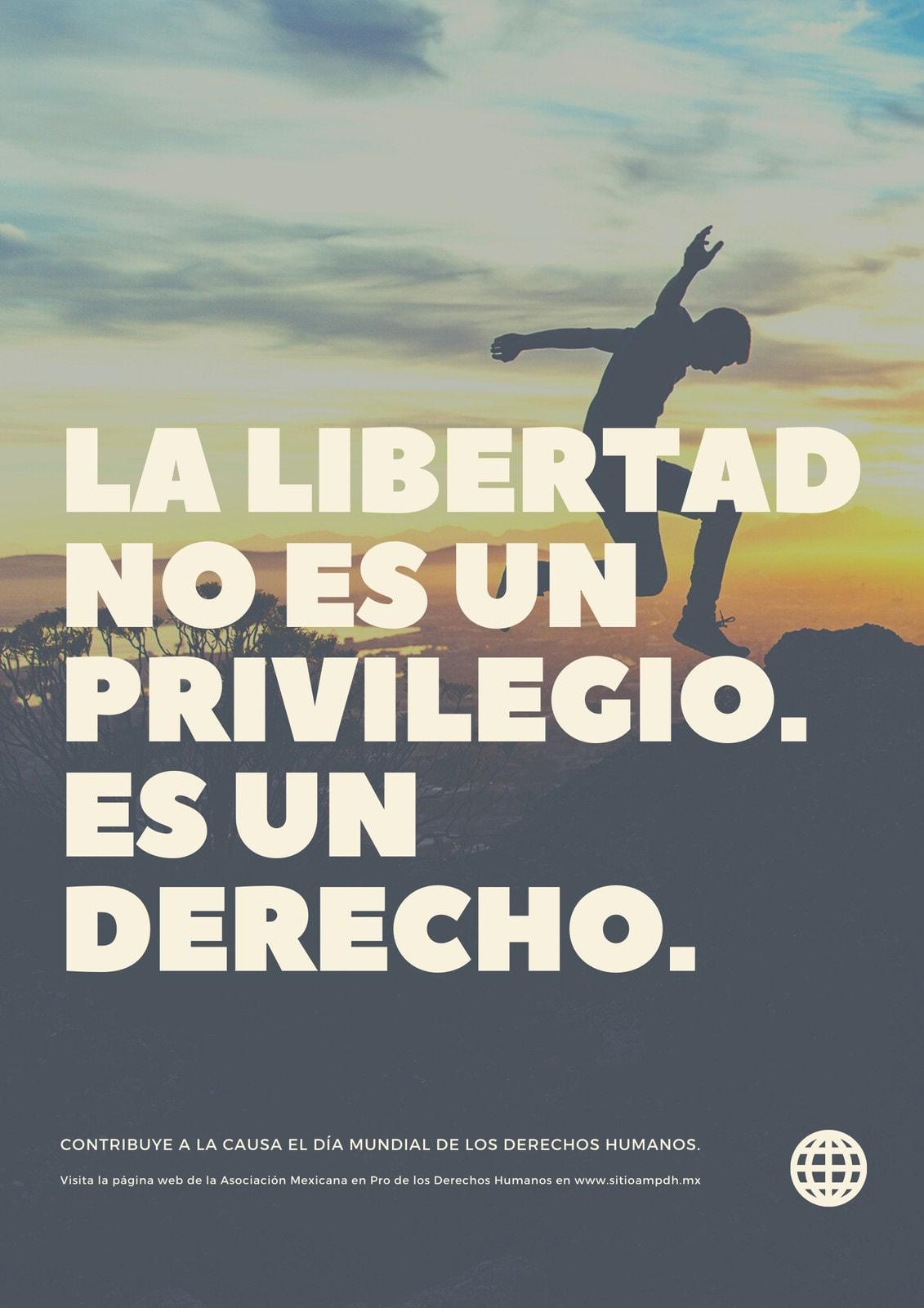 Foto de Atardecer Tipografía Derechos Humanos Póster