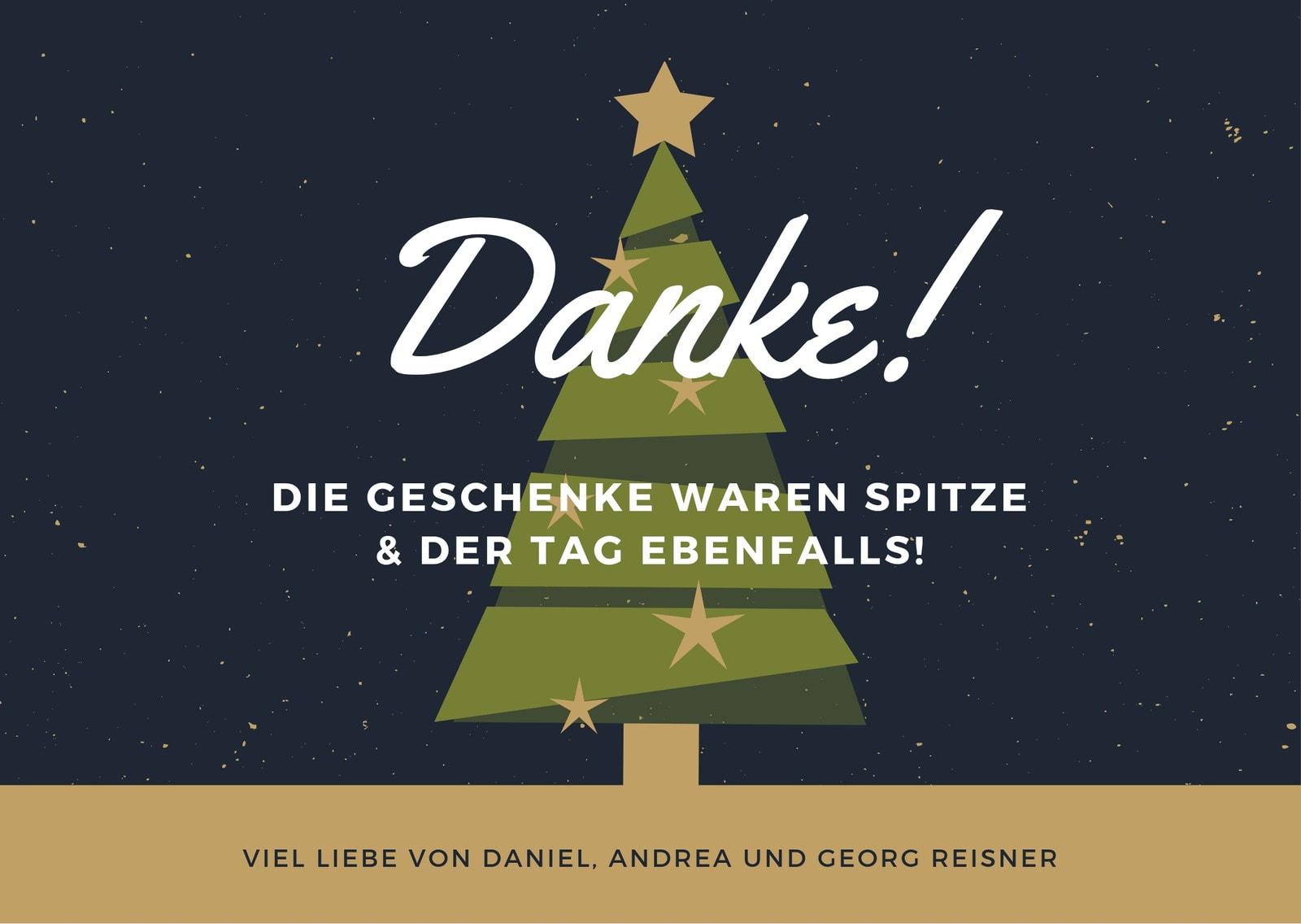 Grün und Gold Rustikal Weihnachten Dankeskarte