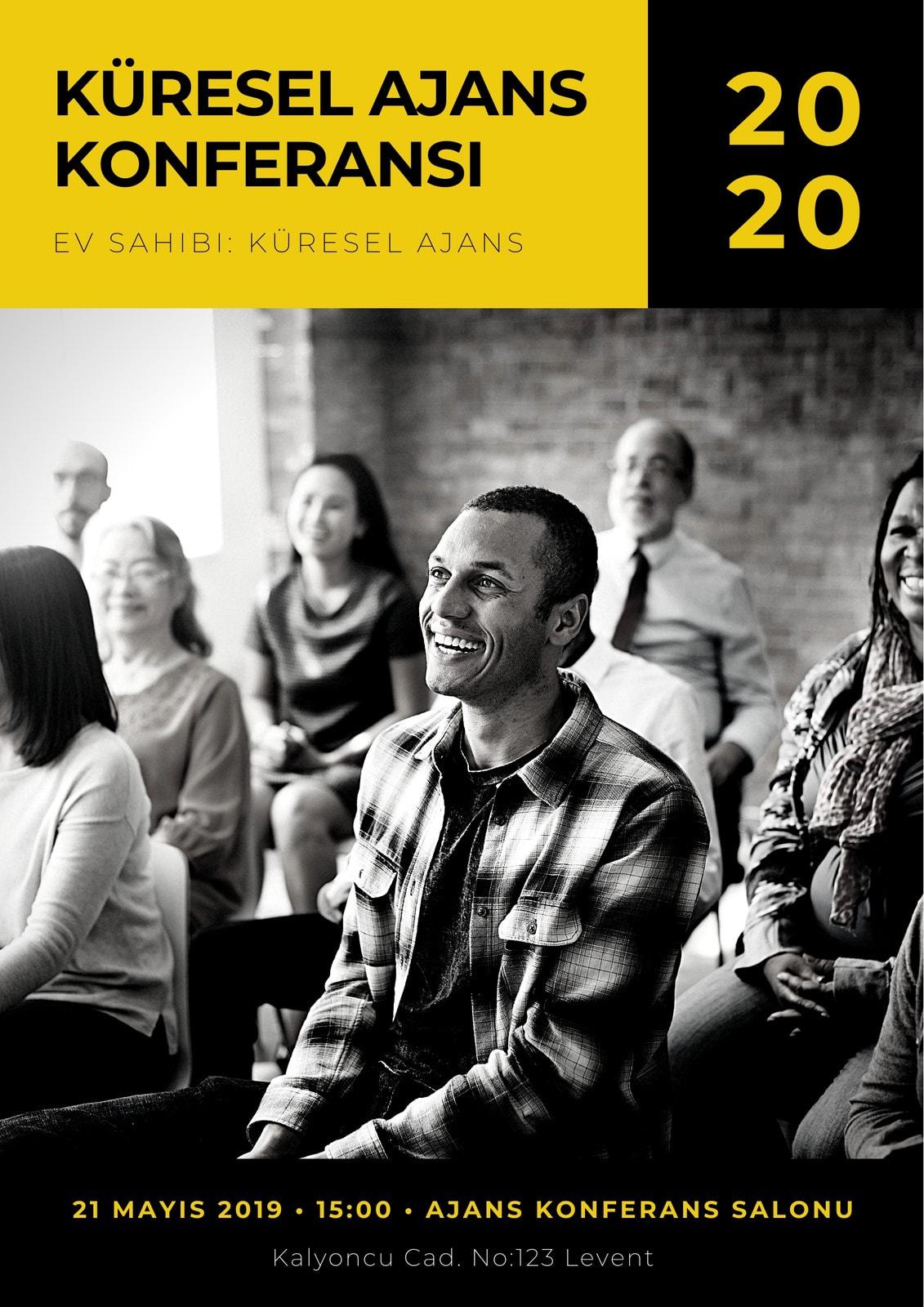 Siyah Sarı Sade Modern Kurumsal Konferans Program