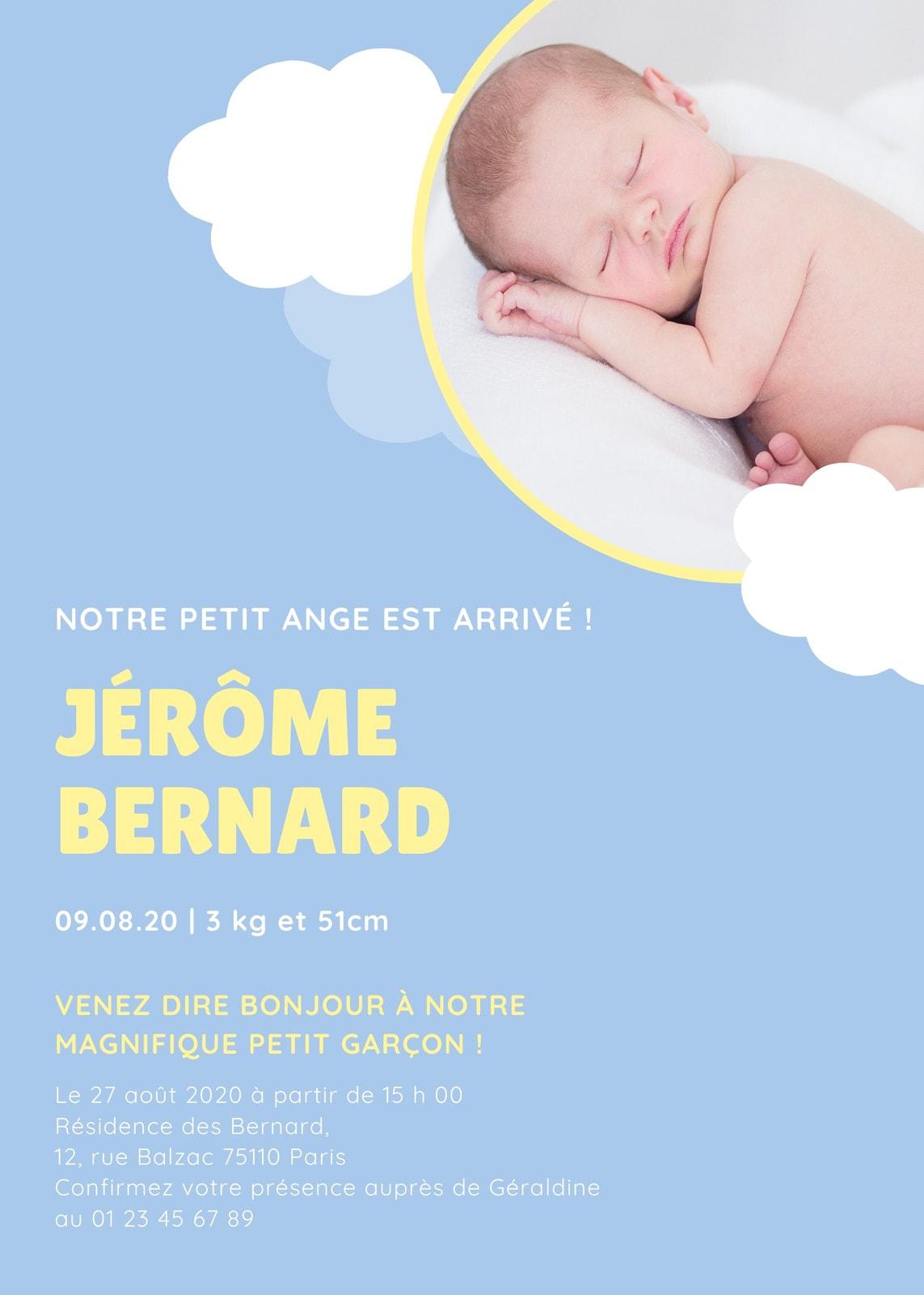 Bleu Nuages Photo Naissance Faire-part