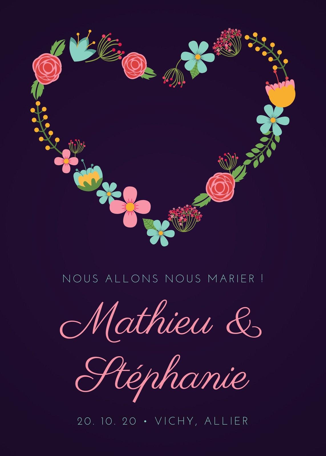 Violet Floral Cœur Mariage Faire-part