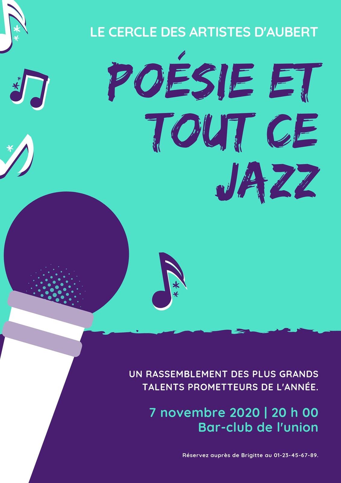 Sarcelle Violet MicroPhone Jazz Affiche