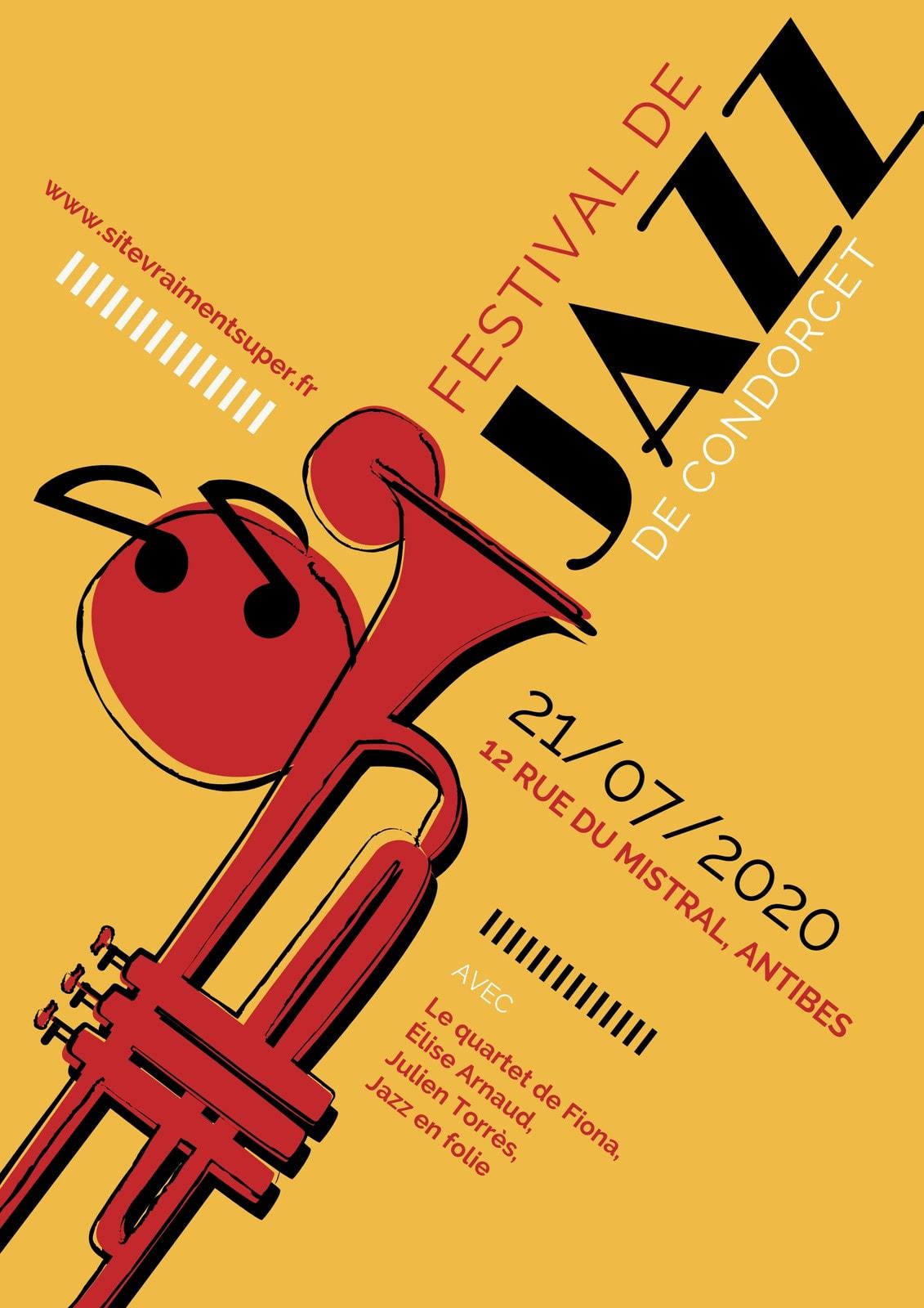 Jazz Musique Saxophone Festival Affiche