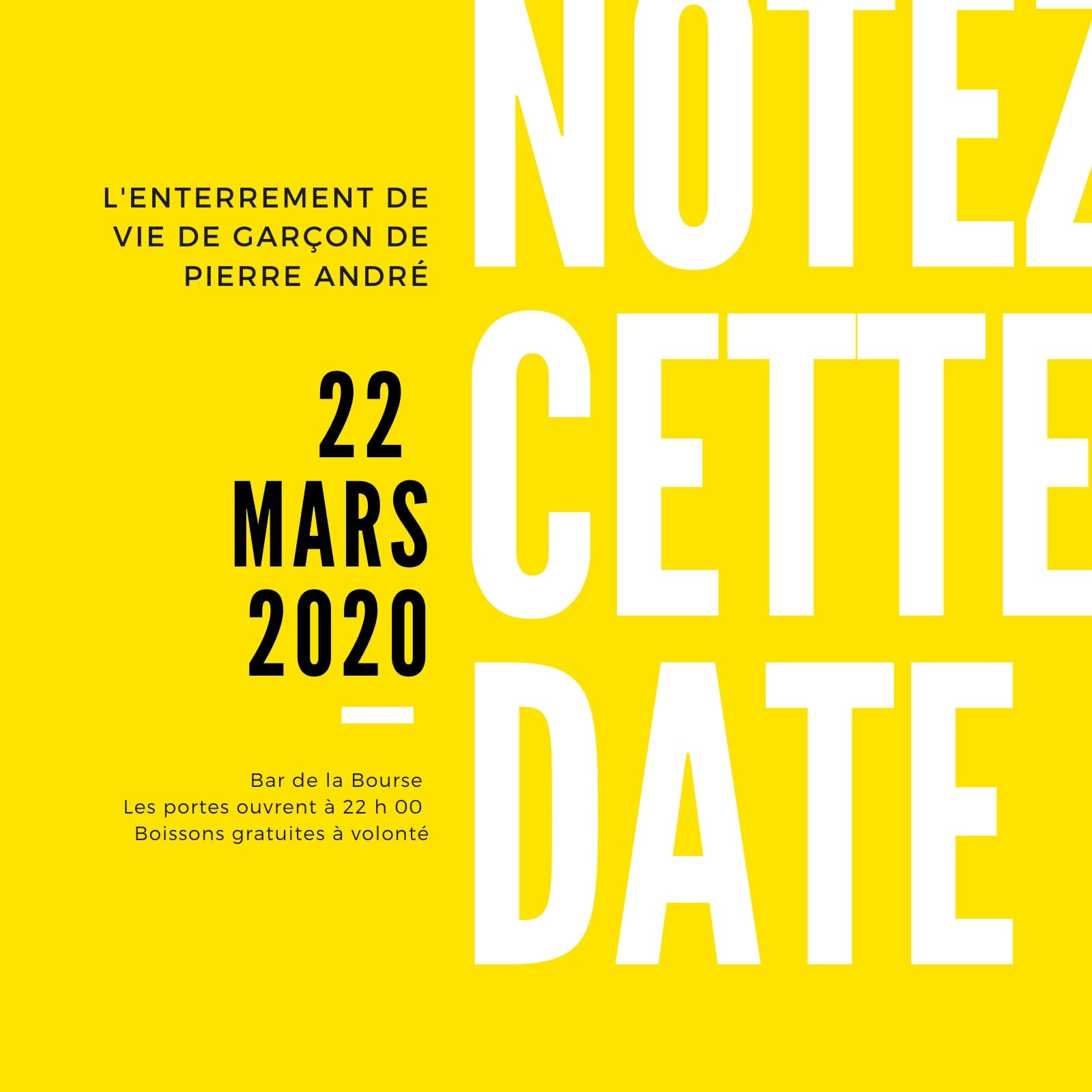 Jaune Noir Moderne Gras Enterrement de vie de garçon Réserver la date Invitation
