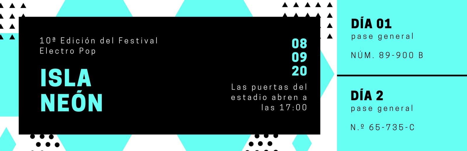 Azul Turquesa Negro Contemporáneo Festival Evento Entrada