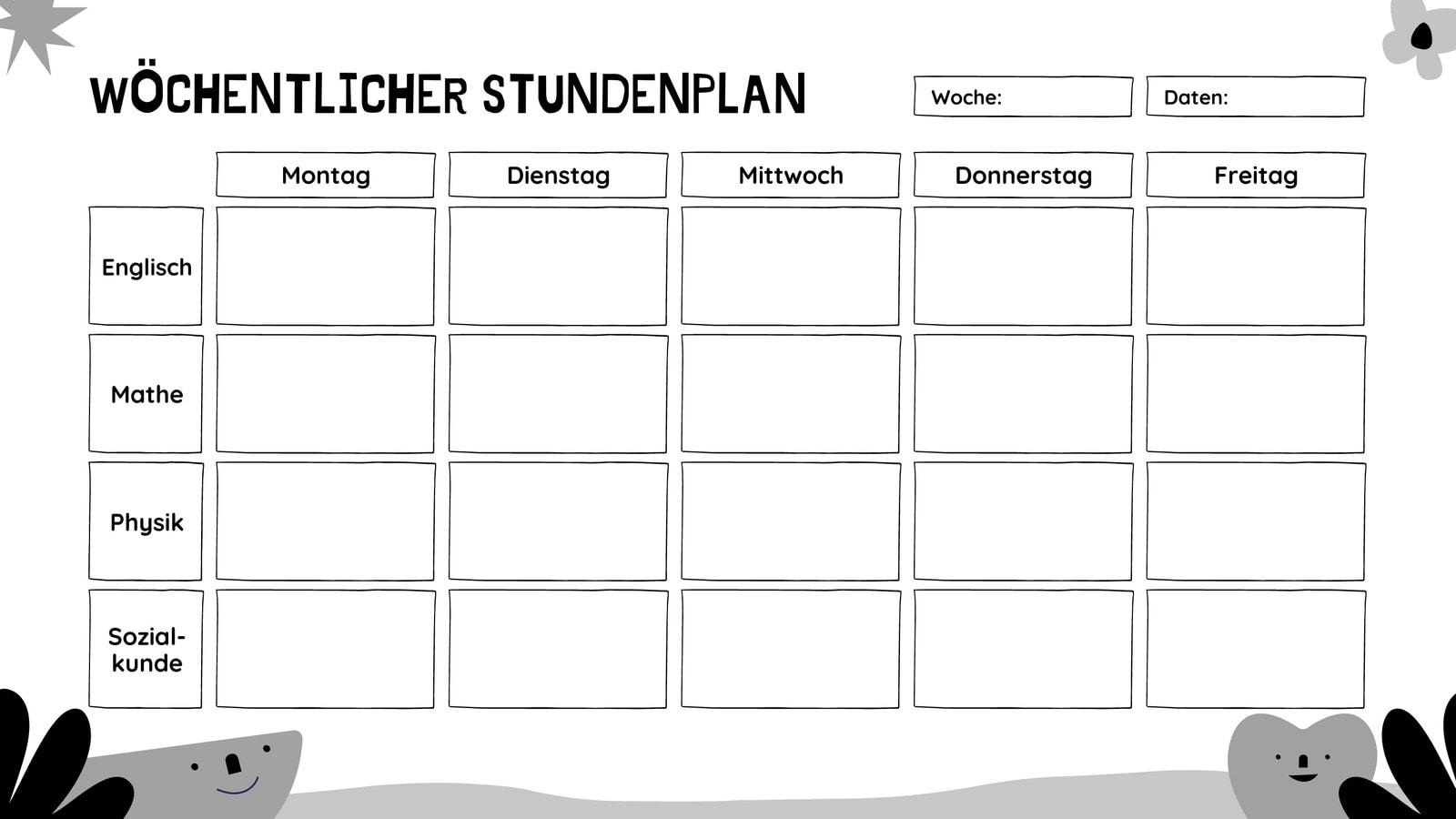 Verspielt Natur Druckfreundlich Leer Stundenplan Kalender