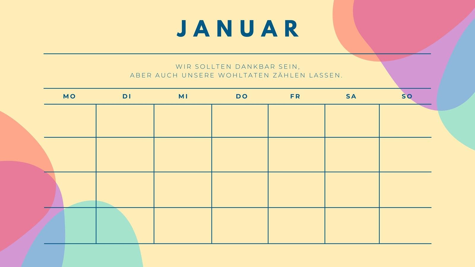 Bunt Zitat Kalender Stundenplan