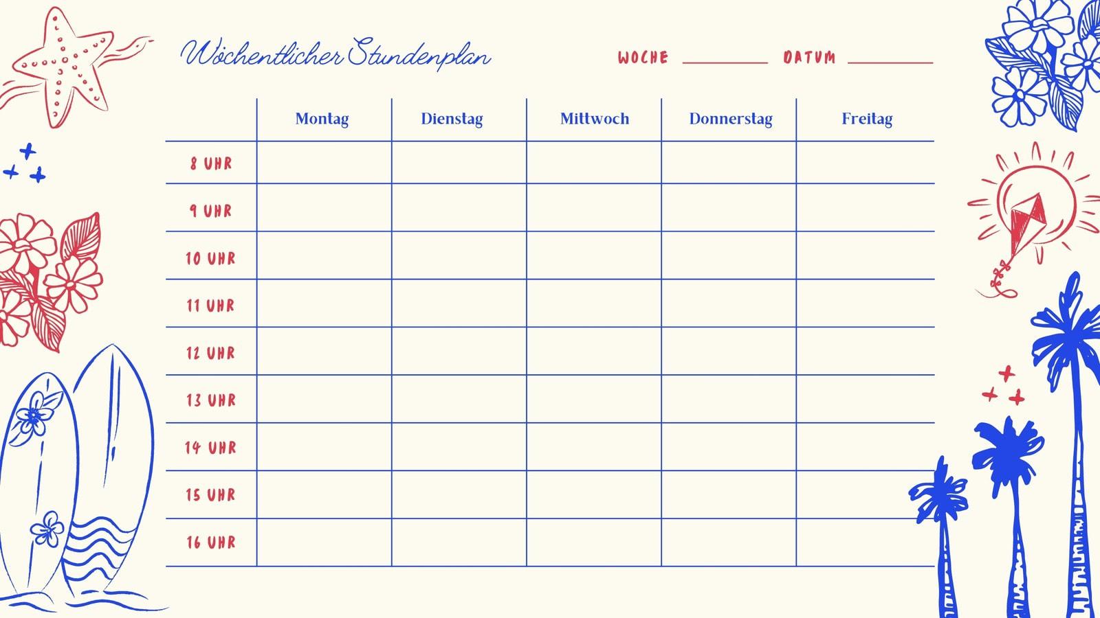 Leer Rot und Blau Vintage Nautisch Stundenplan Kalender