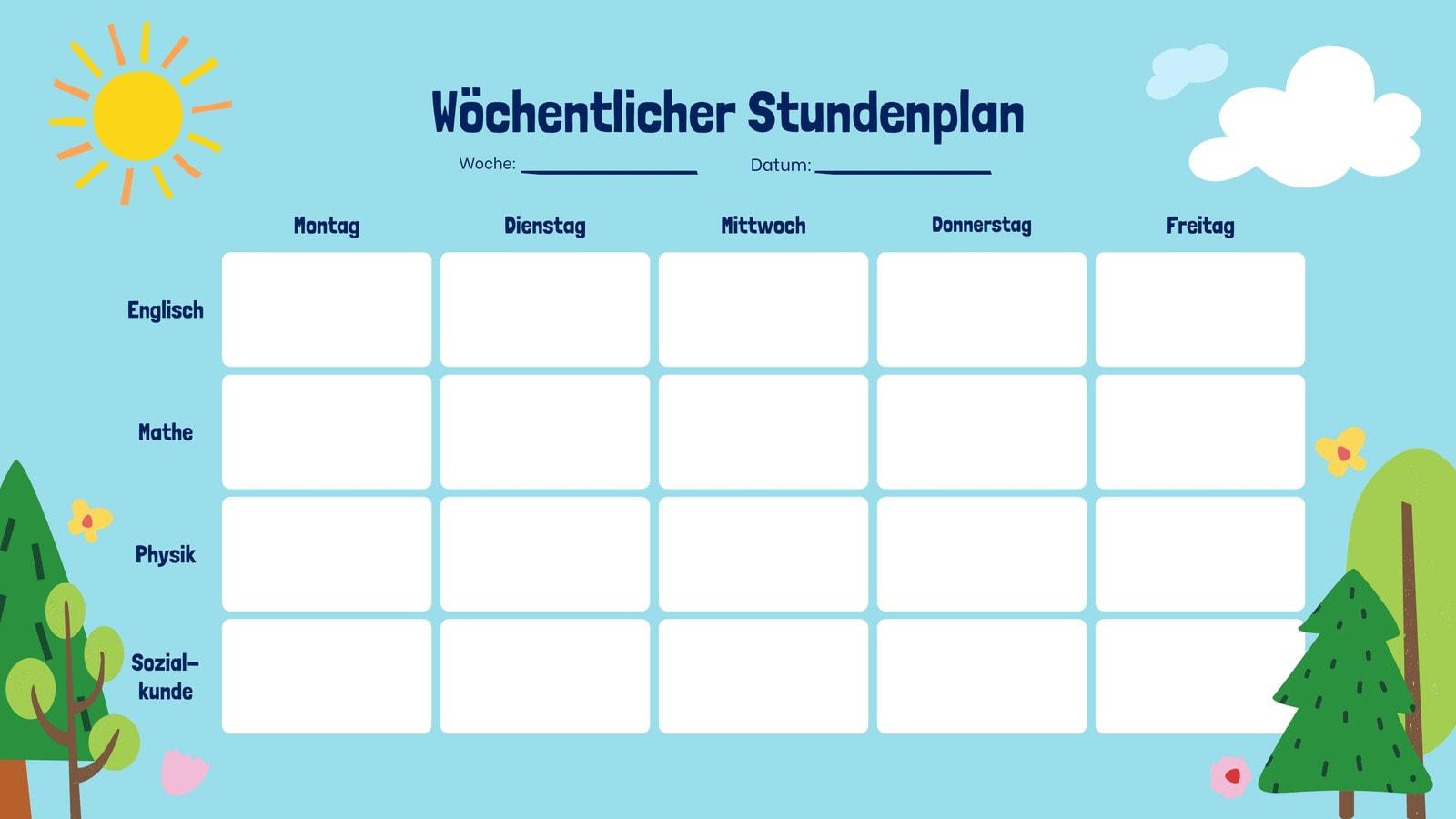 Hell und Sonniger Tag Leer Stundenplan Kalender