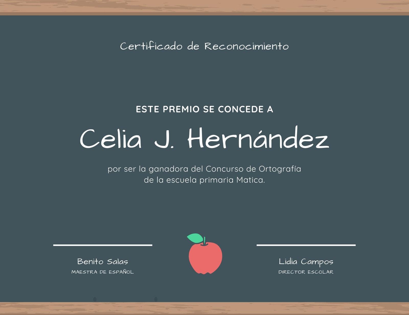 Pizarra Escuela Certificado