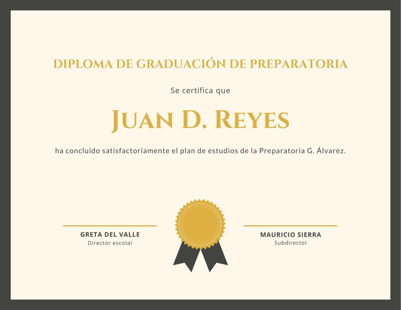 Dorado Insignia Diploma de Preparatoria Certificado
