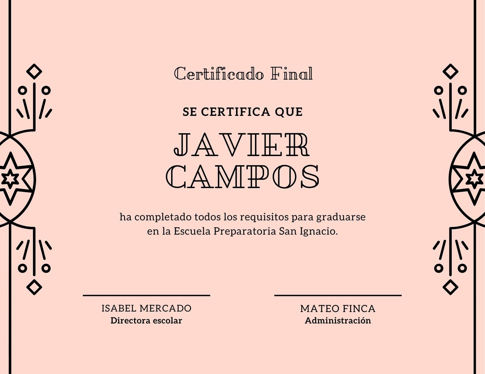 Rosa Vector Borde Diploma de Preparatoria Certificado