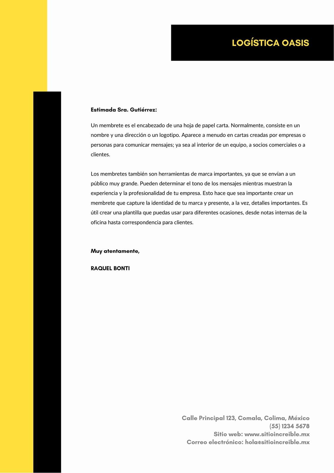 Blanco con Amarillo Texto Negrita Tipográfico Empresa Oficial Membrete
