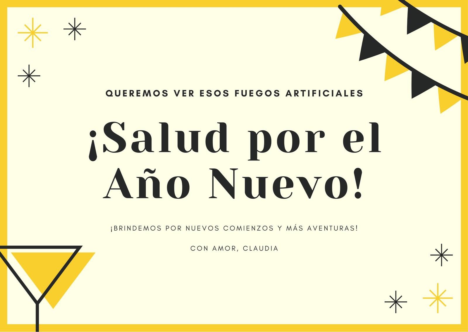 Amarillo Íconos de Fiesta Año Nuevo Tarjeta
