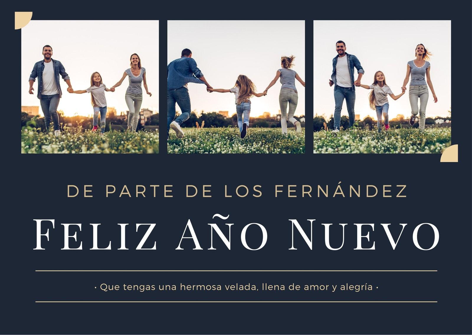 Azul Oscuro y Beige Elegante Año Nuevo Familia Saludos Tarjeta