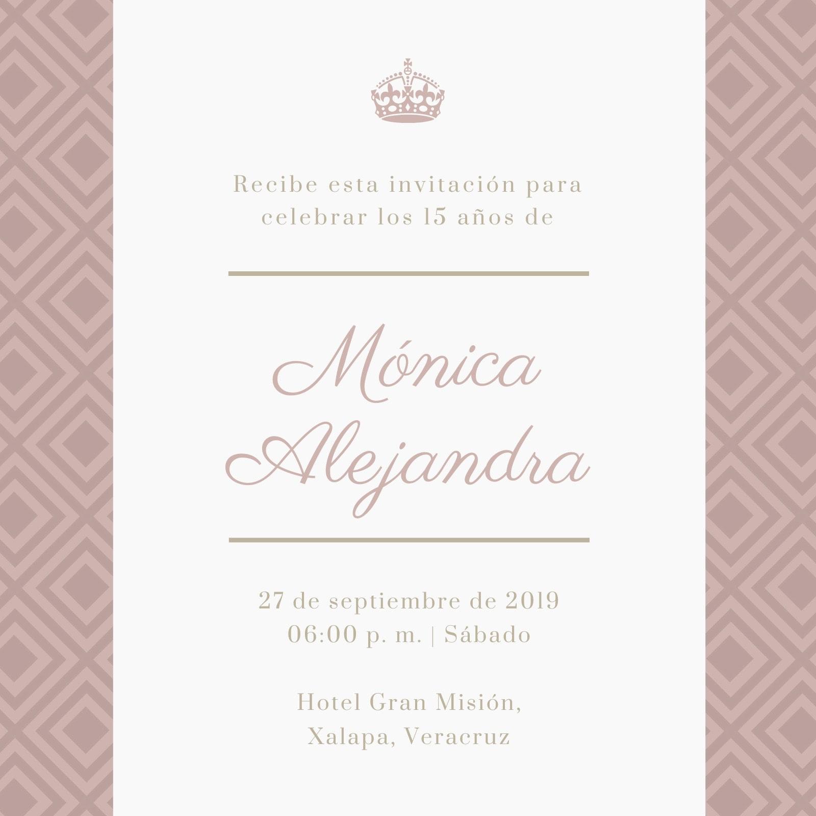 Clásico Rosa y Dorado Quinceañera Invitación