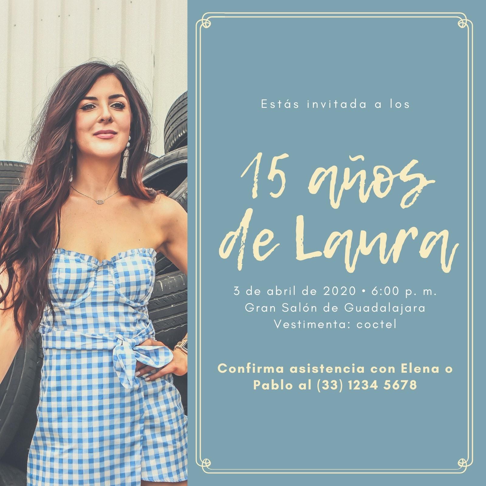 Azul Claro y Amarillo Mujer Con Borde Quinceañera Invitación