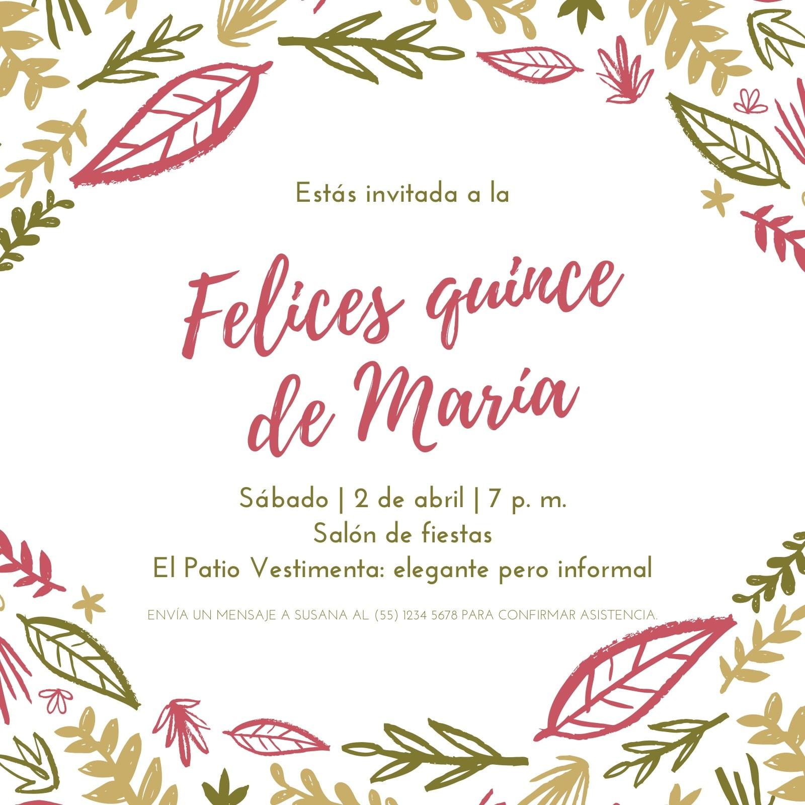 Colorido Femenino Botánico Quinceañera Invitación
