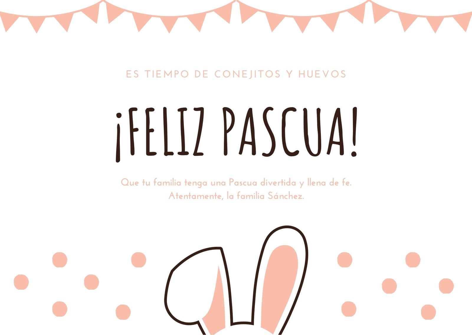 Rosa Conejo Puntos Lunares Pascua Tarjeta