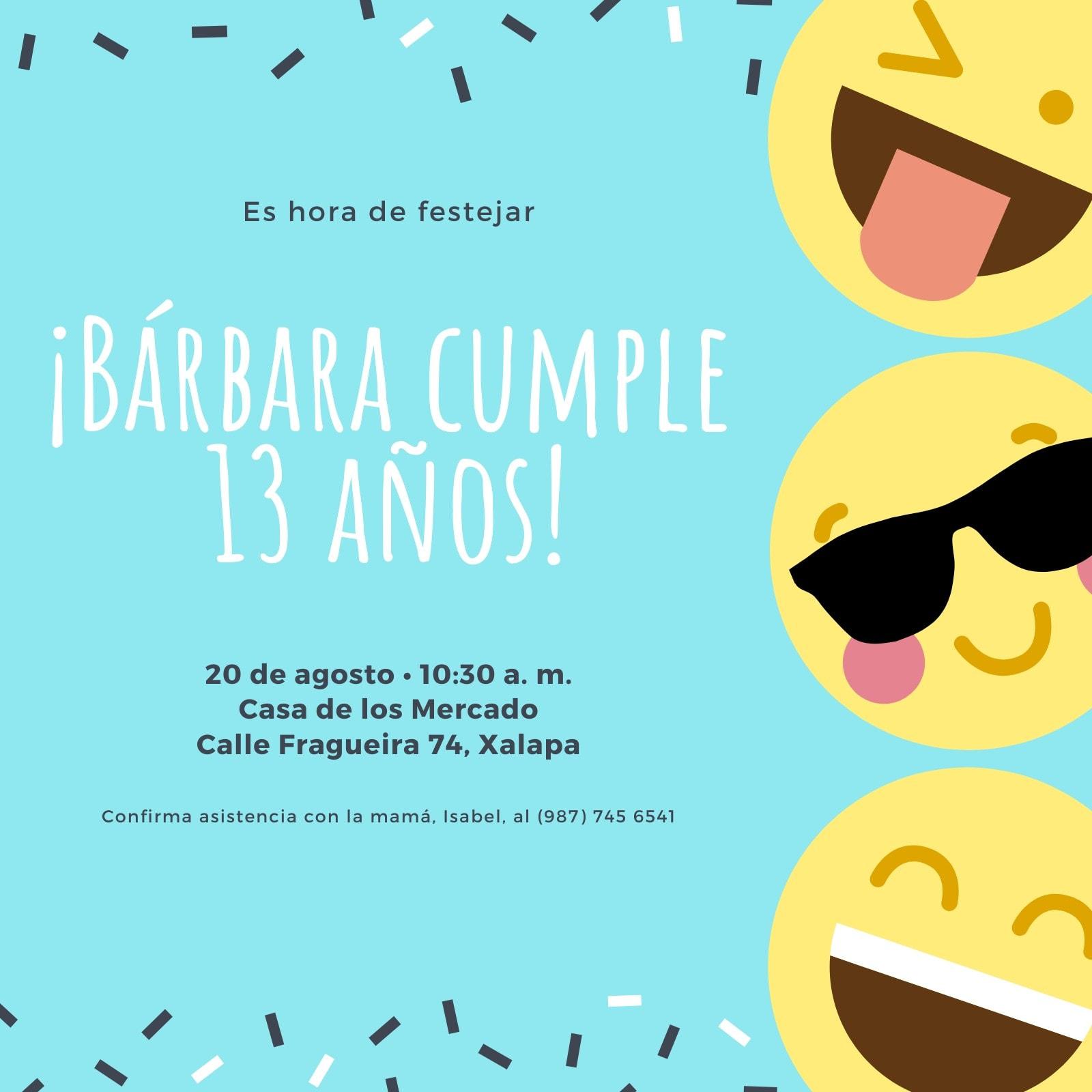 Azul Emoticón 13.° Cumpleaños Invitación