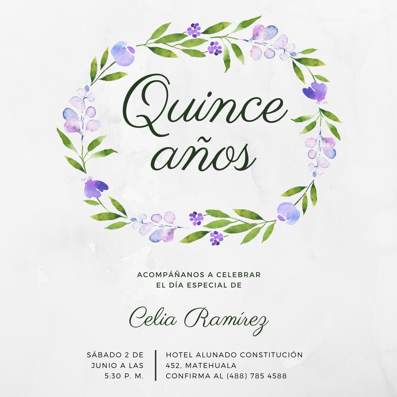 Violeta Floral Composición Simple Quinceañera 15 Invitación