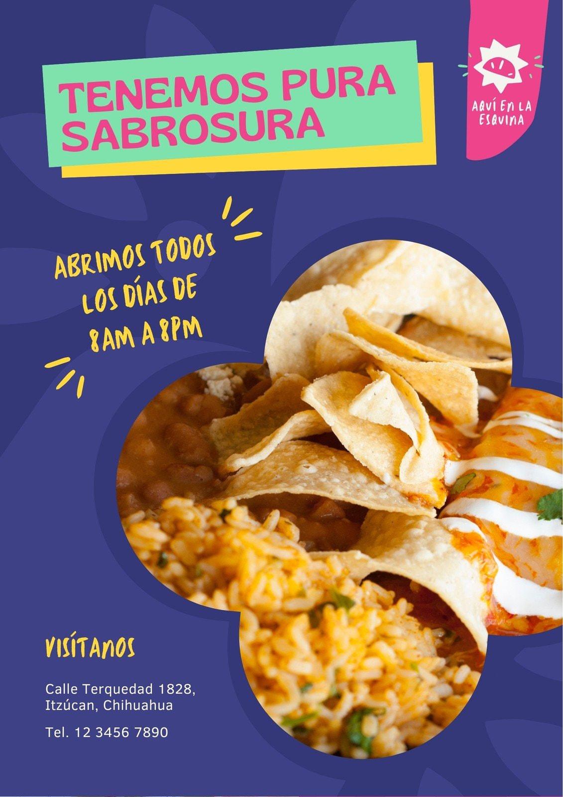 Morado Magenta Restaurante Mexicano Menú Divertido Flyer