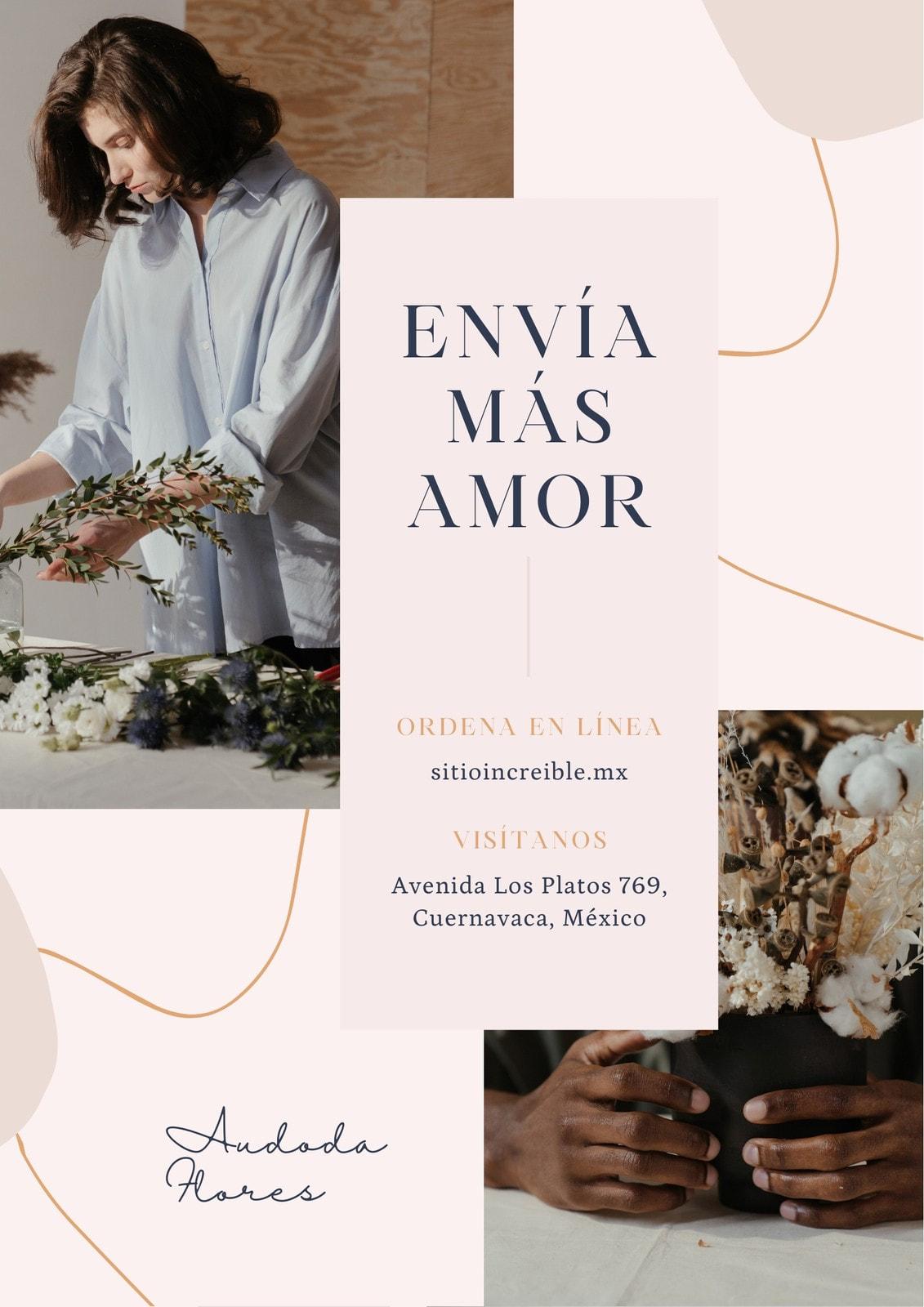 Crema Florería Delicado Moderno Flyer