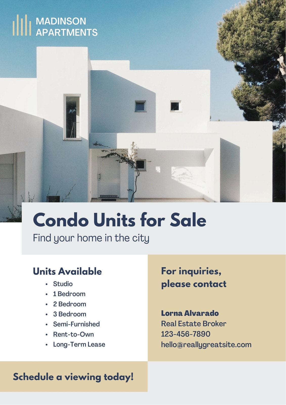 Blue and Tan Real Estate Business Flyer