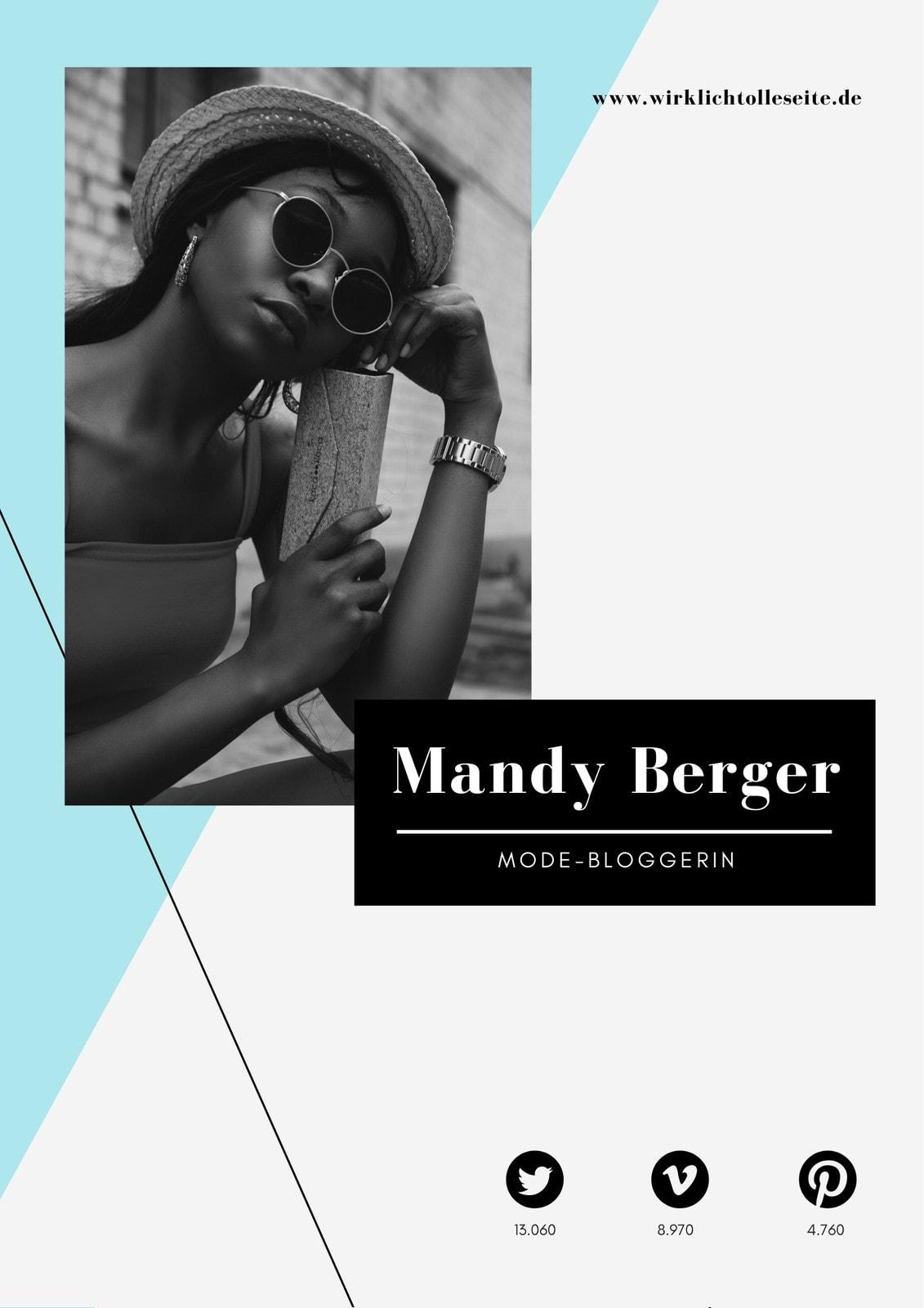 Blau Schwarz Modern Mode Blogger Pressemappe
