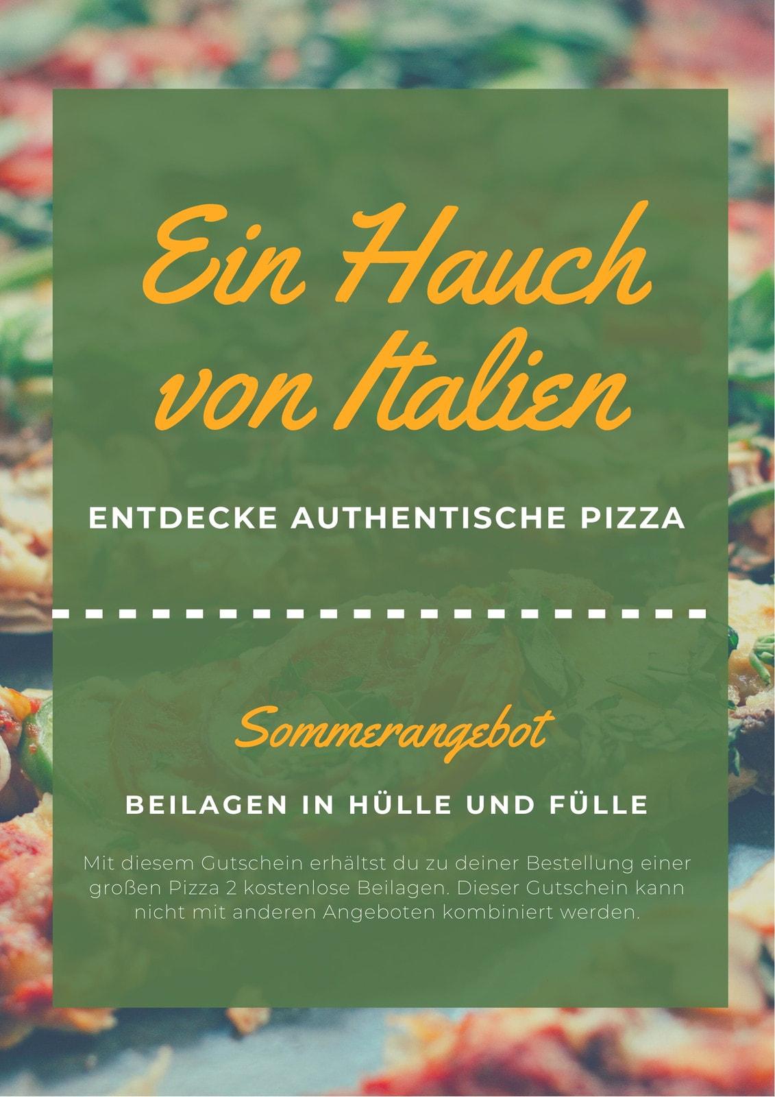 Grün Gemüse Pizza Hintergrund Gutschein