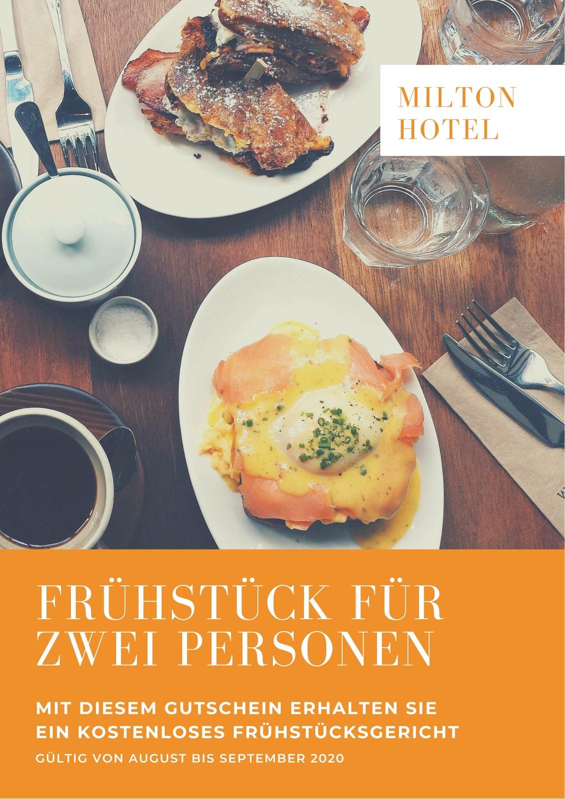 Orange Weiß Frühstück Hotel Gutschein
