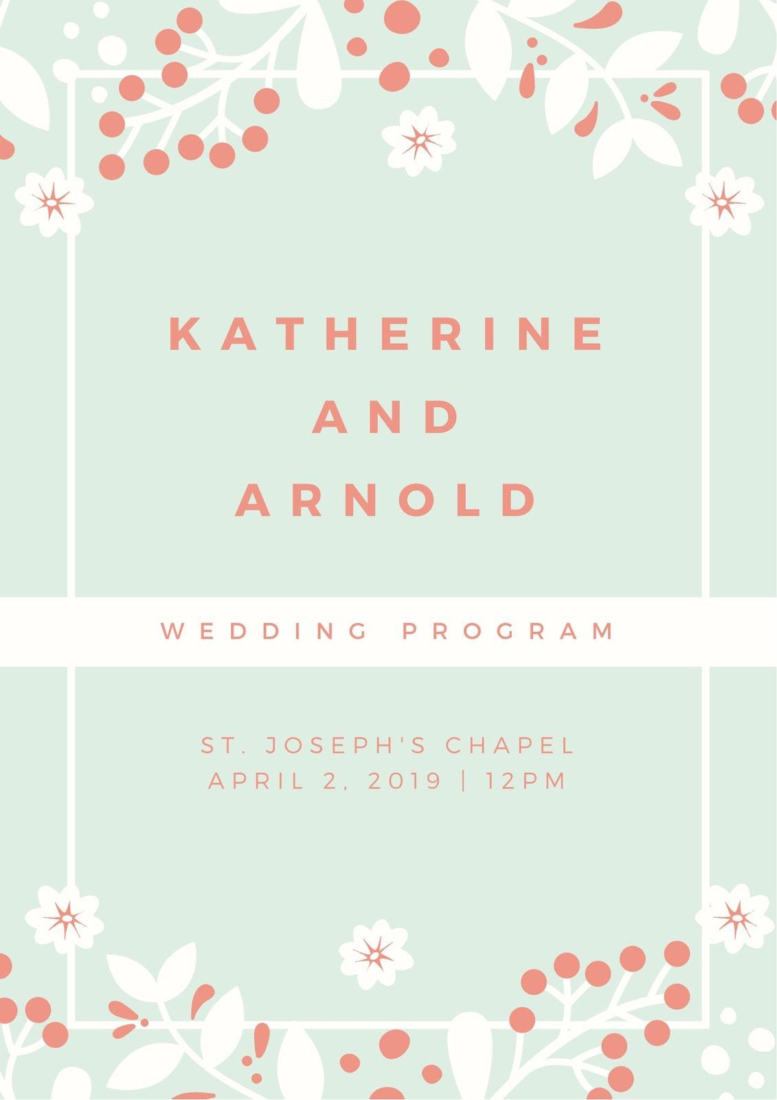 Pastel Green Leaves Floral Modern Wedding Program