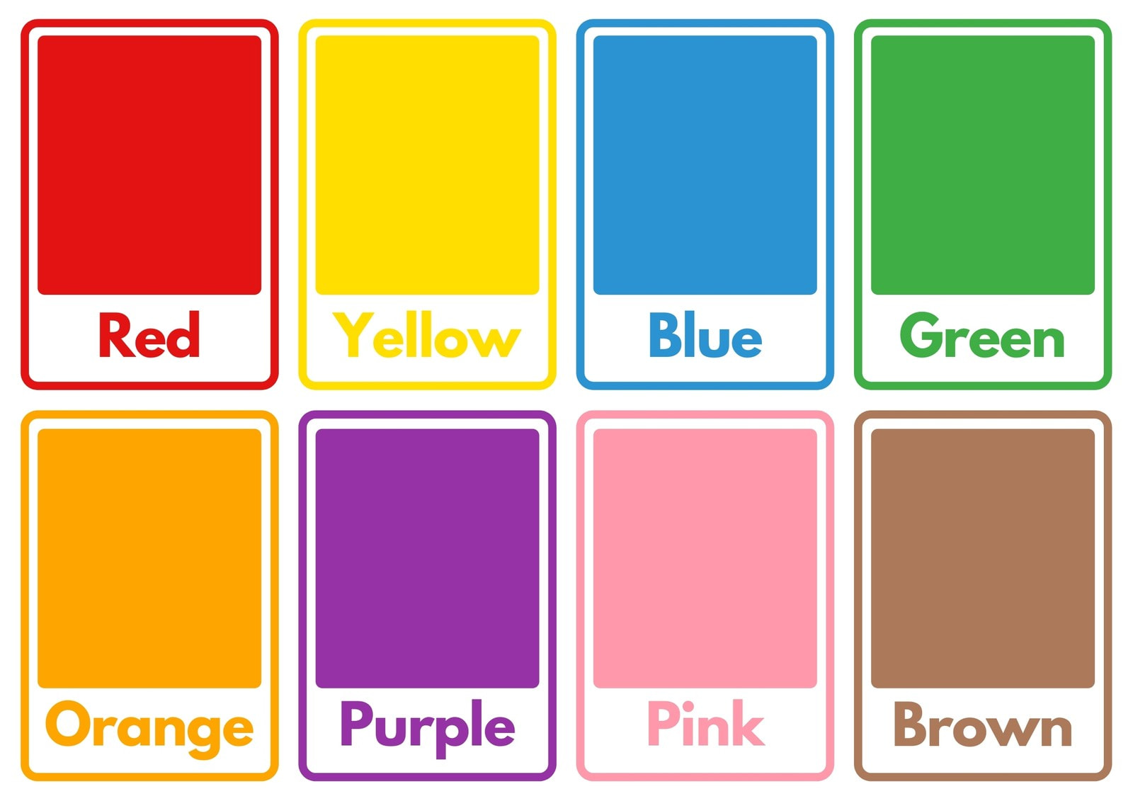 Color Names Simple Flashcard Sheets