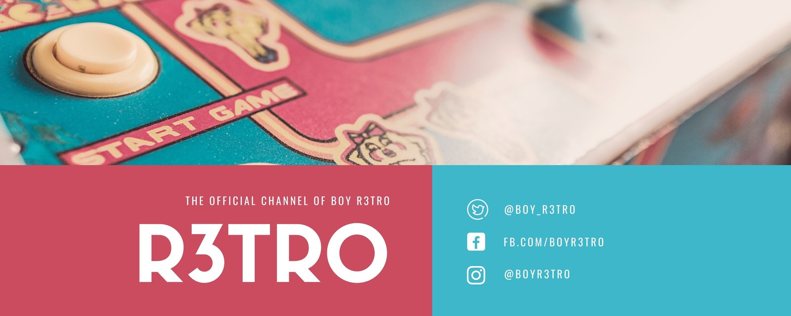 Blue Red Retro Photo General Twitch Banner