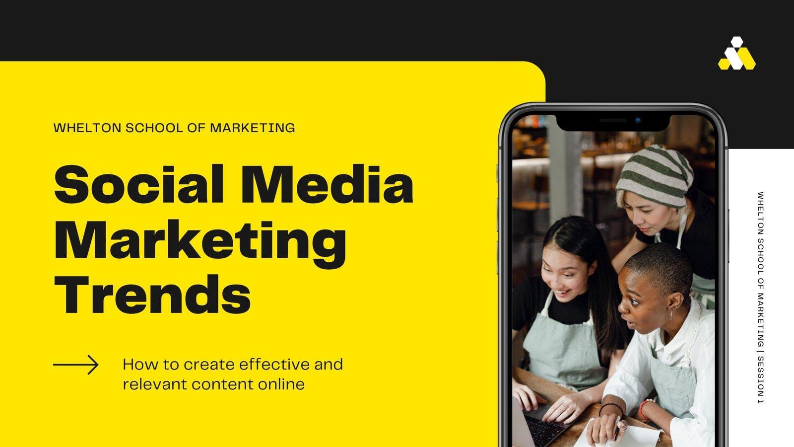 Black and Yellow Modern Social Media Marketing Trends Presentation