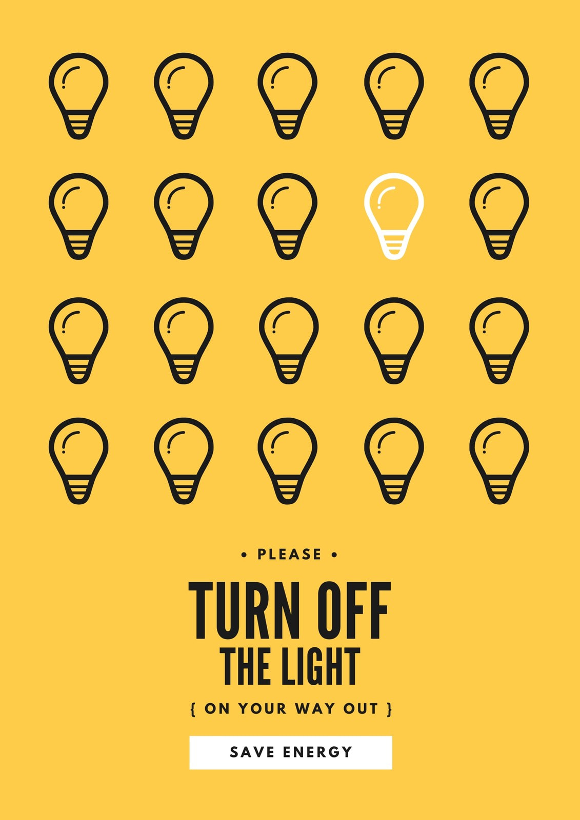 Lightbulbs Save Energy Campaign Poster